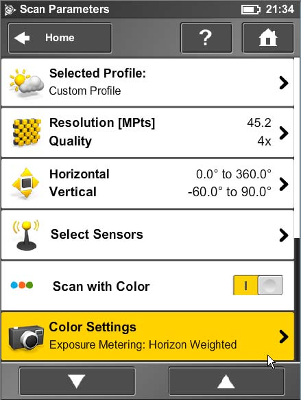 Trimble TX5 Color Settings