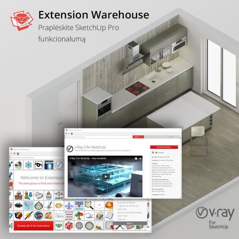 SketchUp 3D baldų projektavimas, dizainas ir vizualizacija