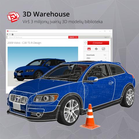 SketchUp 3D Warehouse biblioteka automobilio dizaino modelis