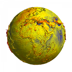 Gravity disturbance on 3D globe