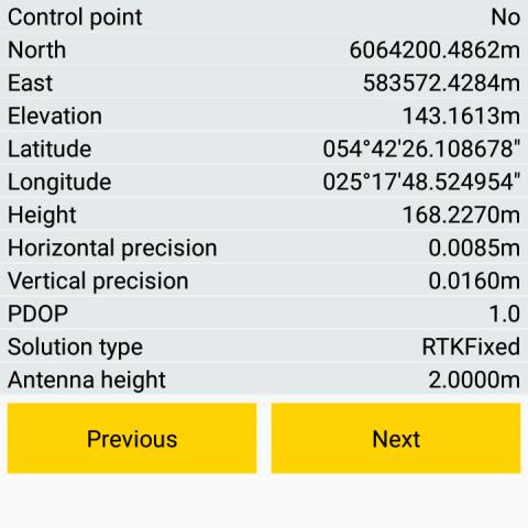 Spectra Precision Survey Mobile - Taško informacijos peržiūra