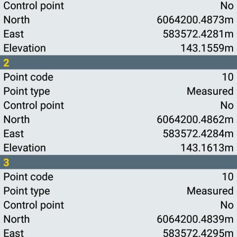 Spectra Precision Survey Mobile - Taškų peržiūra