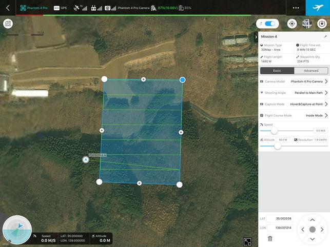 DJI GS PRO aplikacija skrydžių planavimui