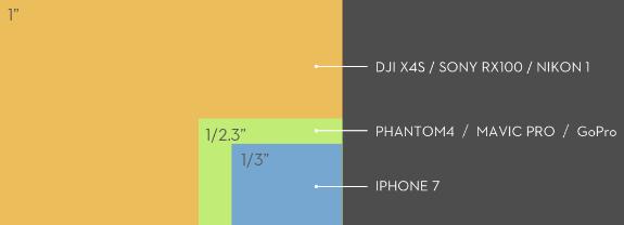 DJI Zenmuse X4S sensoriaus dydžių palyginimas