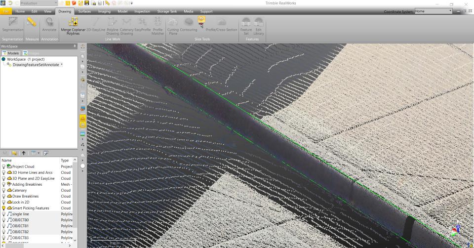 Trimble RealWorks: Kelio bortelio automatinis vektorizavimas