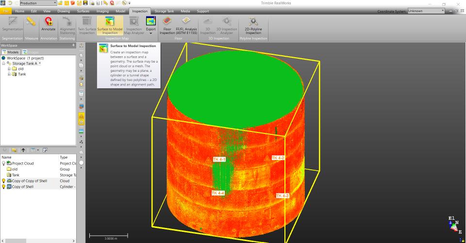 Trimble RealWorks: Rezervuaro korpuso deformacijų analizė