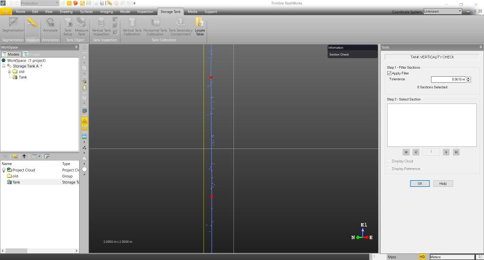 Trimble RealWorks: Rezervuaro sienelės vertikalumo analizė
