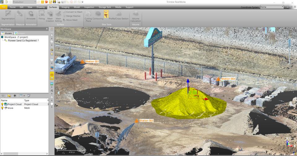 Trimble RealWorks: Tūrių skaičiavimas iš mesh paviršiaus modelio
